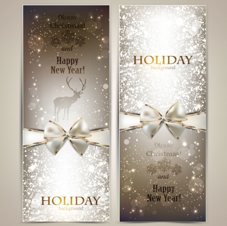Elegant greeting cards with bows and copy space Illusztráció