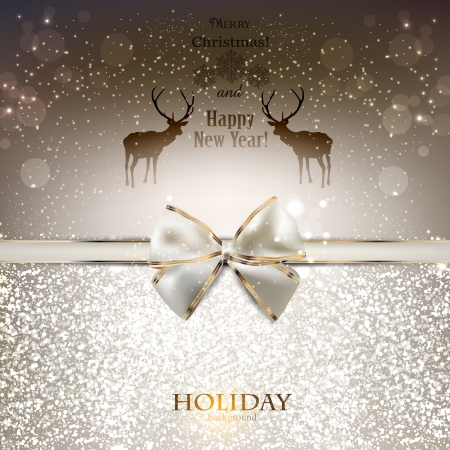 christmas ribbon: Elegant greeting card with white bow and copy space Illustration