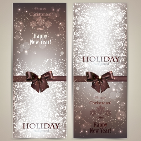 Collection of gift cards and invitations with ribbons Vector