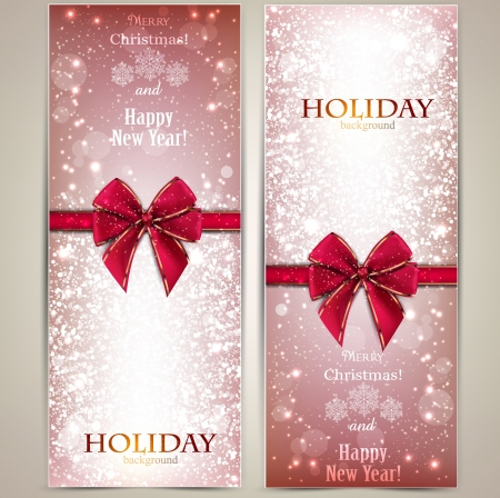 Greeting cards with red bows and copy space Stock fotó - 16930657