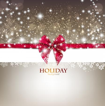 season greetings: Carte de voeux avec l'arc rouge et de l'espace copie. Vector illustration
