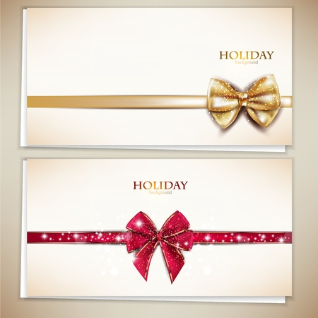 gold ribbon: Collection of gift cards and invitations with ribbons. Vector background