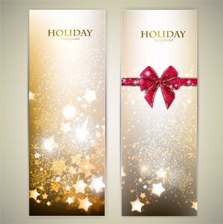 Set of Elegant Christmas banners with stars. Vector illustration Stock Vector - 16922863