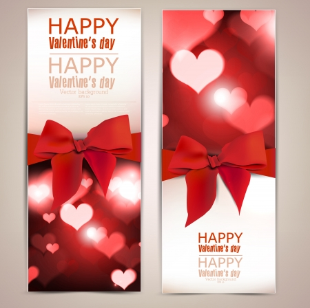 Beautiful greeting cards with red bows and copy space  Valentine Vector
