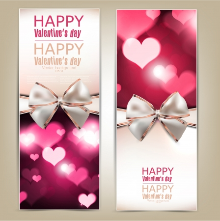 valentine s day background: Beautiful greeting cards with white bows and copy space  Valentine Illustration