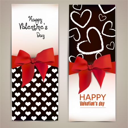 Beautiful greeting cards with red bows and copy space Valentine