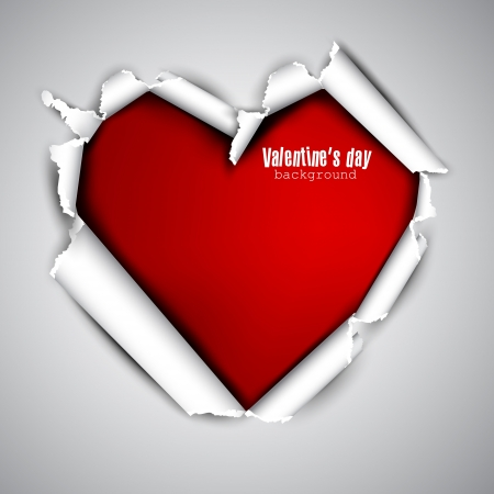 Torn paper with space for text  Red heart  Valentine Illustration