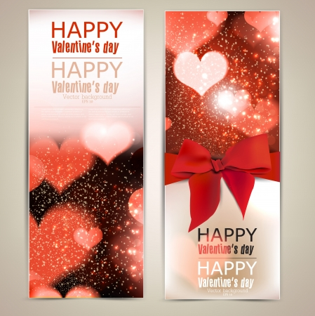 happy valentine s day: Beautiful greeting cards with red bows and copy space  Valentine Illustration
