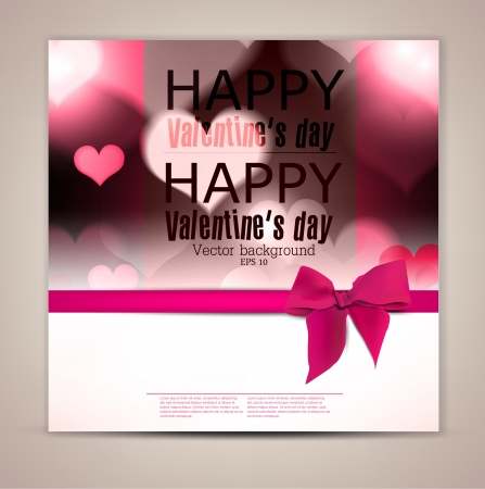 Elegant greeting card with hearts and copy space  Valentine Vector