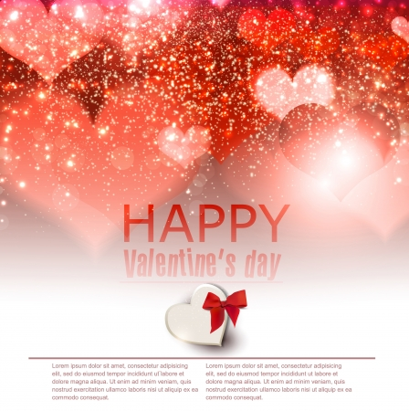 place for text: Elegant  red background with hearts and place for text  Valentine