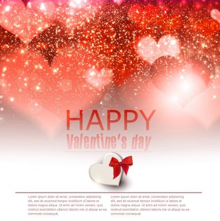 place for text: Elegante fondo rojo con corazones y lugar para el texto de San Valent�n Vectores