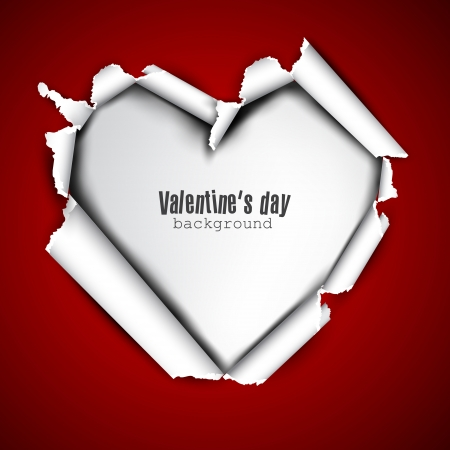 Torn paper with space for text  White heart  Valentine Vector