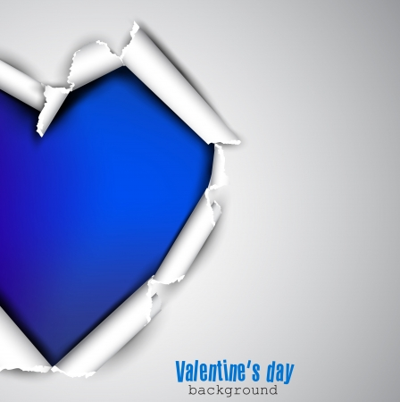 Torn paper with space for text  Blue heart  Valentine Vector