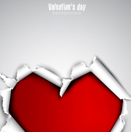 torn heart: Torn paper with space for text  Red heart  Valentine Illustration