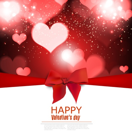 Beautiful greeting cards with red bows and copy space. Valentines day Illusztráció