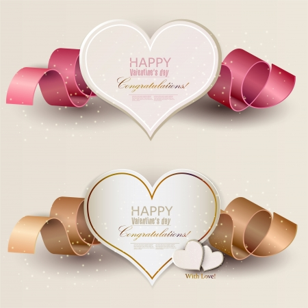 Collection of gift cards with ribbons. Vector background Vector