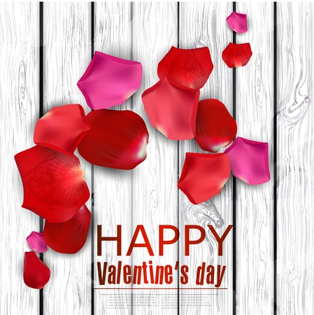 Beautiful colorful rose petals on wooden texture.  Happy Valentine's Day.  background Stock Vector - 17338967