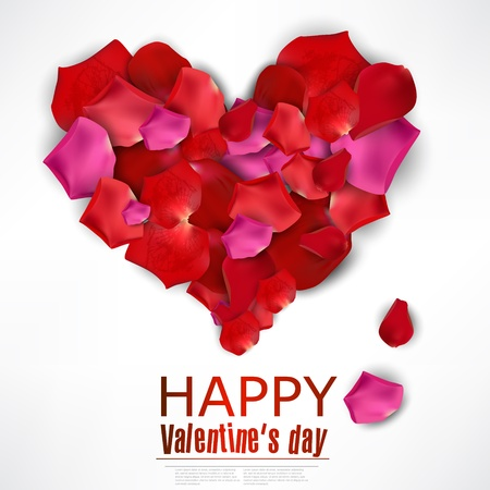 Beautiful heart made from rose petals on white. background Vector