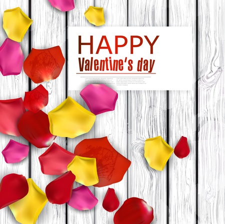 Beautiful colorful rose petals on wooden texture.  Happy Valentines Day. background Vector