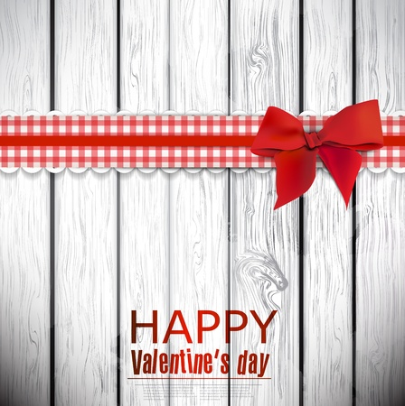Red cloth ribbon on wooden background. Valentines day. Stock fotó - 17338941