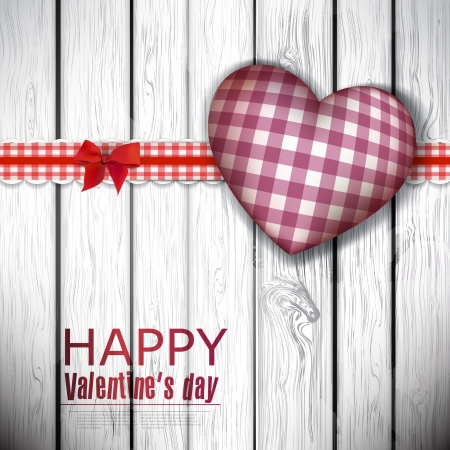 Red cloth handmade hearts on wooden background. Valentines day.   Vector