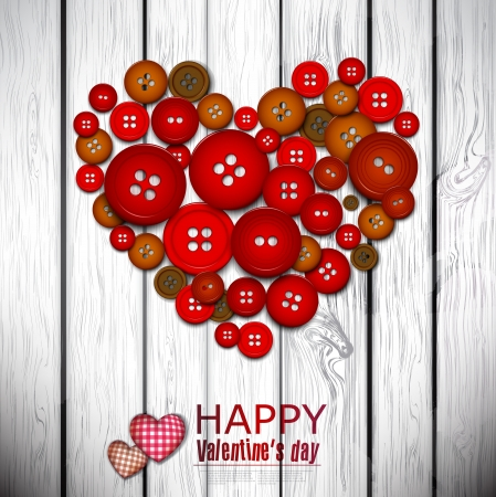 Red heart made from red buttons. Valentines day background. Vector