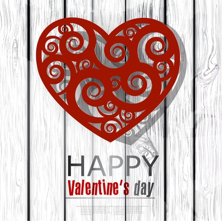 Red handmade heart on wooden background. Valentines day.  Vector