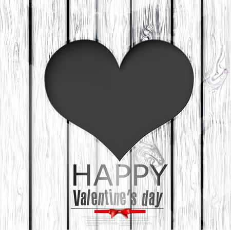 hole in heart shape on wooden texture.  Happy Valentines Day.  background Vector