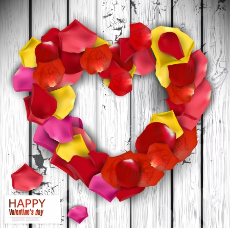 Beautiful heart made from rose petals on wooden texture. background Stock Vector - 17339010