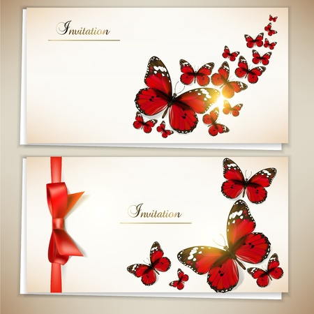Collection of gift cards and invitations with ribbons and butterfly. Vector background Vector