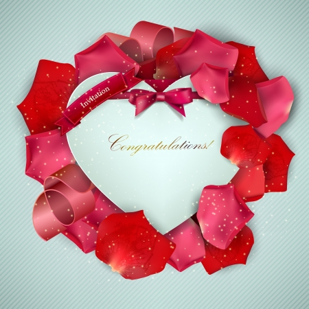 Beautiful vintage invitation with rose petals Vector