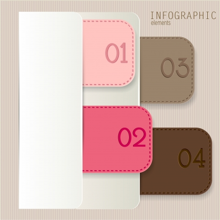 Set of bookmarks, stickers, labels, tags. Numbered banners. Vector template for infographics Stock Vector - 18236804