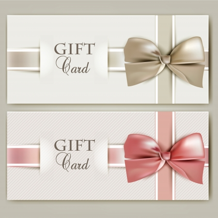 birthday present: Collection of gift cards with ribbons.  background