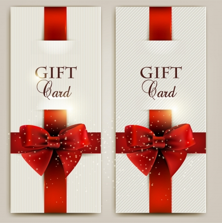 Gorgeous gift cards with red bows and copy space.  illustration