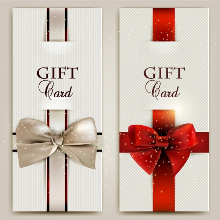 Gorgeous gift cards with bows and copy space.  illustration Иллюстрация