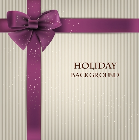 purple ribbon: Elegant holiday background with bow and space for text.  illustration Illustration