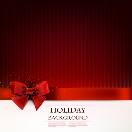 Elegant holiday background with red bow and space for text.  illustration Illustration