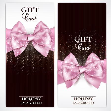 ruban noir: Cartes-cadeaux avec des arcs magnifiques roses et l'espace de copie. illustration Illustration