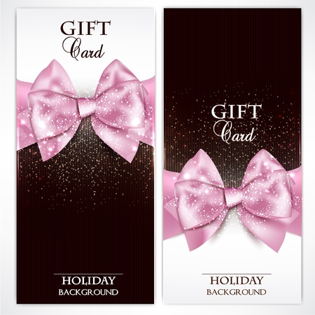 sparkles: Gorgeous gift cards with pink bows and copy space.  illustration