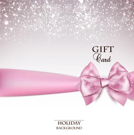 moño rosa: Fondo de vacaciones preciosa con lazo rosa y el espacio de la copia. ilustración