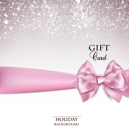 Gorgeous holiday background with pink bow and copy space.  illustration