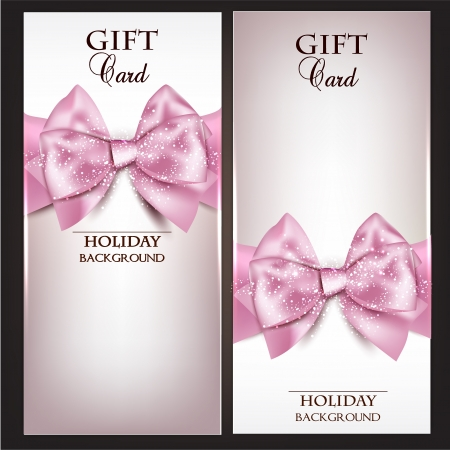 Gorgeous gift cards with pink bows and copy space.  illustration