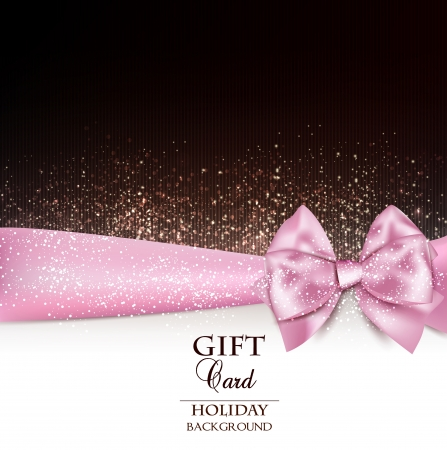 pink satin: Gorgeous holiday background with pink bow and copy space.  illustration