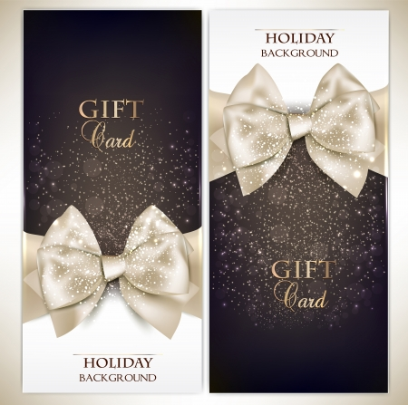 gift wrapping: Gorgeous gift cards with white bows and copy space.  illustration