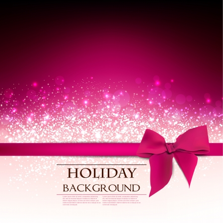 Elegant  Holiday Red background with bow and place for text.  Illustration. Vector