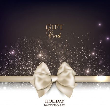 gold glitter: Gorgeous gift card with white bow and copy space.  illustration