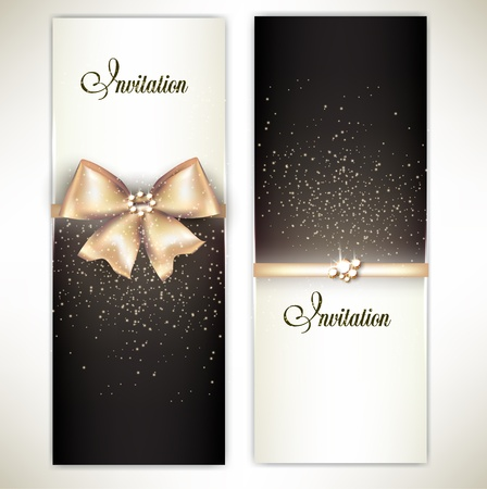 Greeting cards with white bows and copy space  illustration Illusztráció