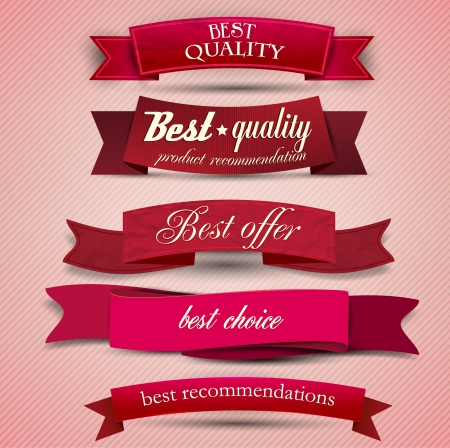 superior: Set of Superior Quality and Satisfaction Guarantee Ribbons, Labels, Tags  Retro vintage style Illustration