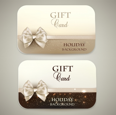 happy holidays card: Collection of gift cards with ribbons  Vector background Illustration