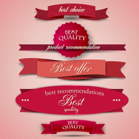 coupon template: Set of Superior Quality and Satisfaction Guarantee Ribbons, Labels, Tags. Retro vintage style